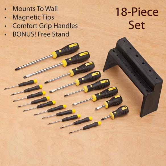 18 piece screwdriver set with bonus stand home improvement cleaning. Black Bedroom Furniture Sets. Home Design Ideas