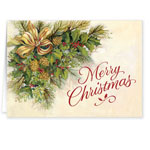 Christmas Cards - Christmas Greenery Secular Christmas Card Set of 20