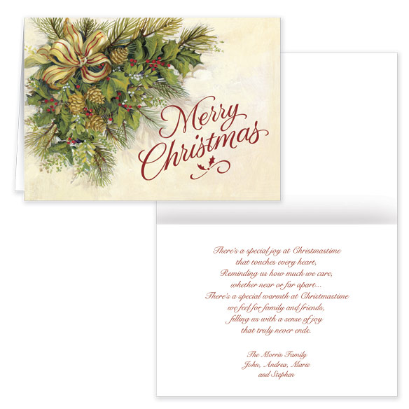 Christmas Greenery Secular Christmas Card Set of 20 - View 1