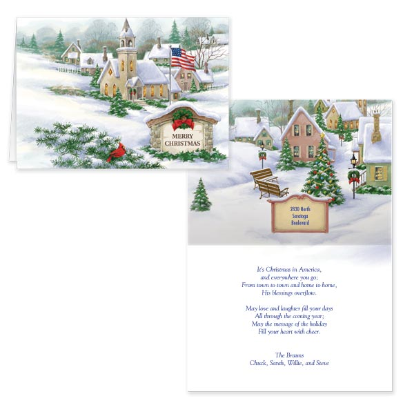 Personalized God Bless America Christmas Card Set of 20 - View 1