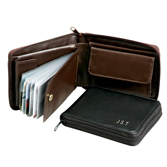Personalized Leather Zipper Wallet