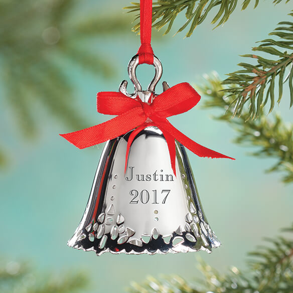 Silver Bell Ornaments Engraved
