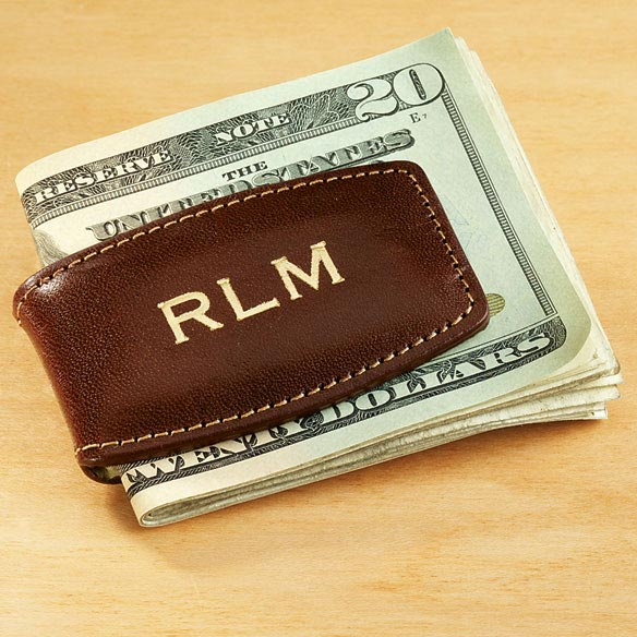 Personalized Leather Money Clip - View 1