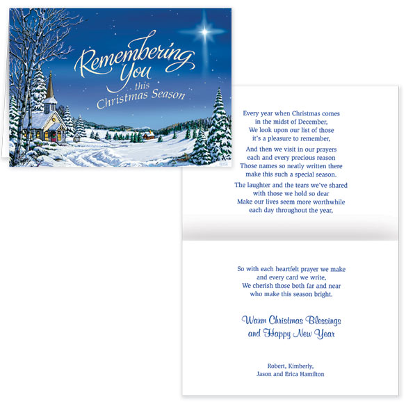 Remembering You Religious Christmas Card Set of 20 - View 1
