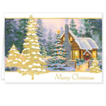 Top Reviews - Glowing Cottage Personalized Christmas Cards Set Of 20