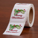 Personalized Labels - Merry Christmas Seals - Set of 150