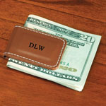 Personalized Gifts - Personalized Leather Magnetic Money Clip