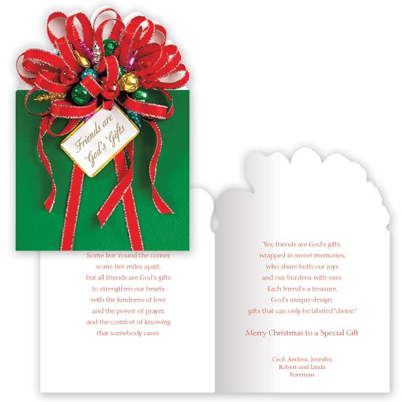 Friends are God's Gifts Christmas Card Set of 20 - View 1