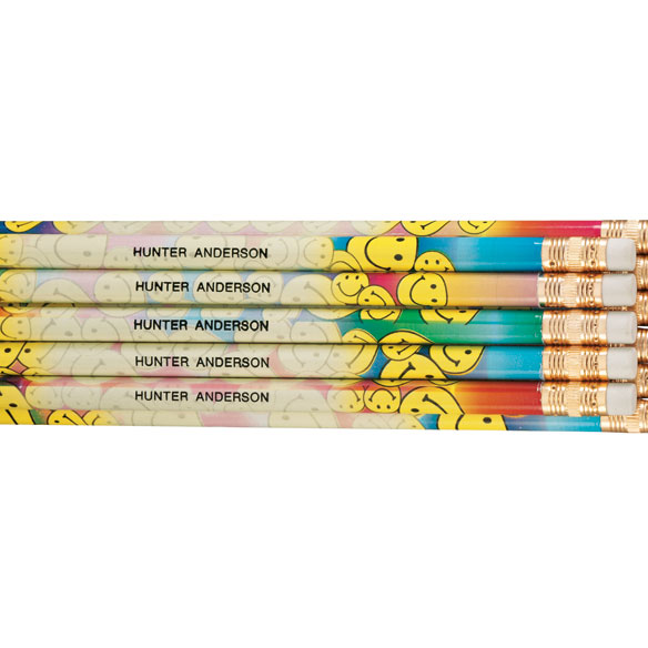 Personalized Smiley Face Pencils - Set of 12 - View 1