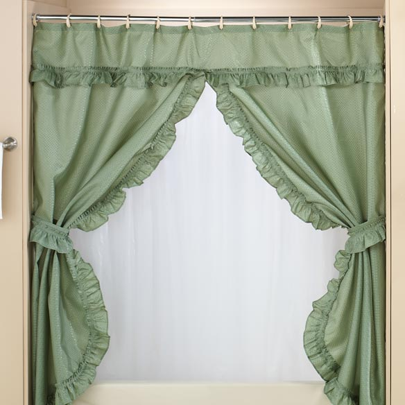 Double Swag Shower Curtains With Valance - View 1