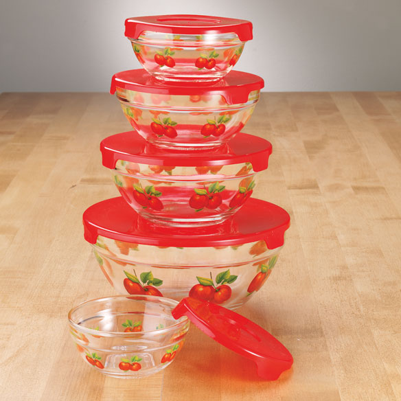 Red Apples Glass Bowls - Set of 5