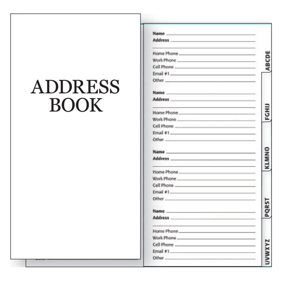 2 Year Planner Address Book Insert