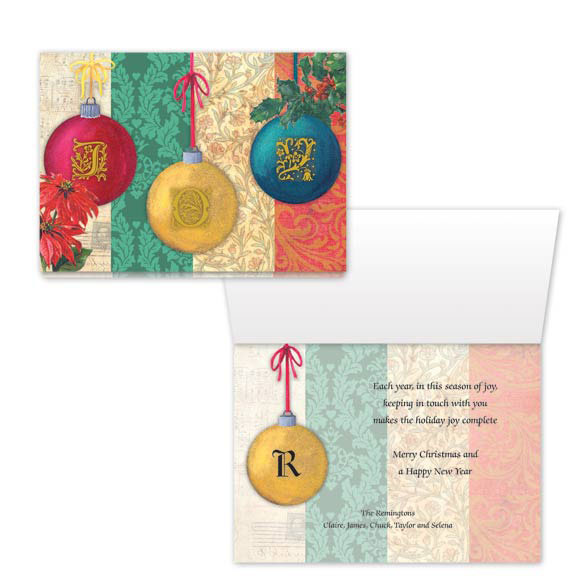Monogram Ornament Christmas Card Set of 20