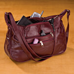 Handbags & Wallets - Burgundy Patch Leather Handbag