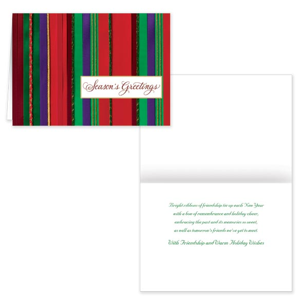 Holiday Ribbons Christmas Card - Set of 20