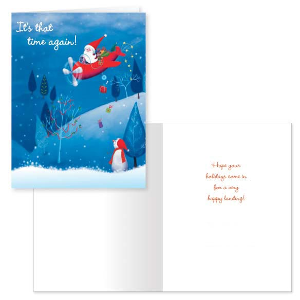 Santa's Flight Christmas Card - Set of 20