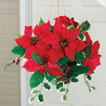 Holidays & Gifts - Silk Poinsettia Hanging Basket