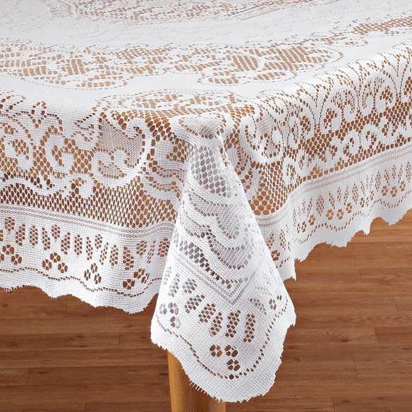 White Fleur De Lis Lace Table Cloth