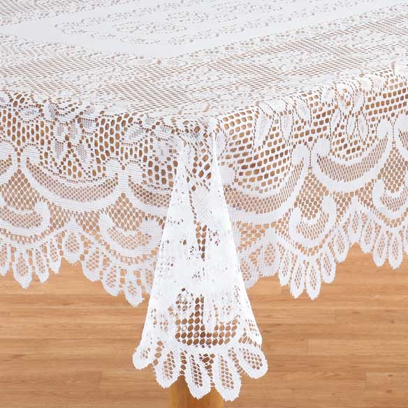 White Rose Lace Table Cloth