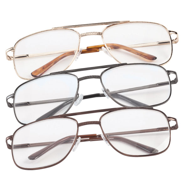 Spring Hinge Pilot Reading Glasses - 3 Pack
