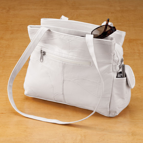 White Leather Handbag - View 1