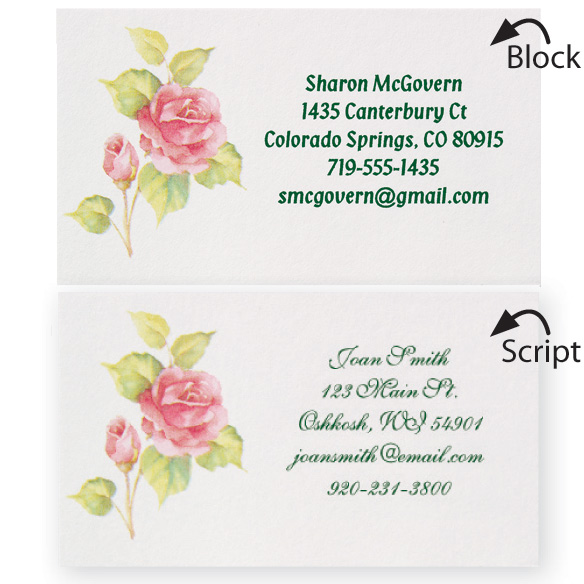 Personalized Rose Business Cards - Set of 200 - View 1