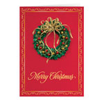Christmas Cards - Personalized Satin Wreath Christmas Card Set of 20