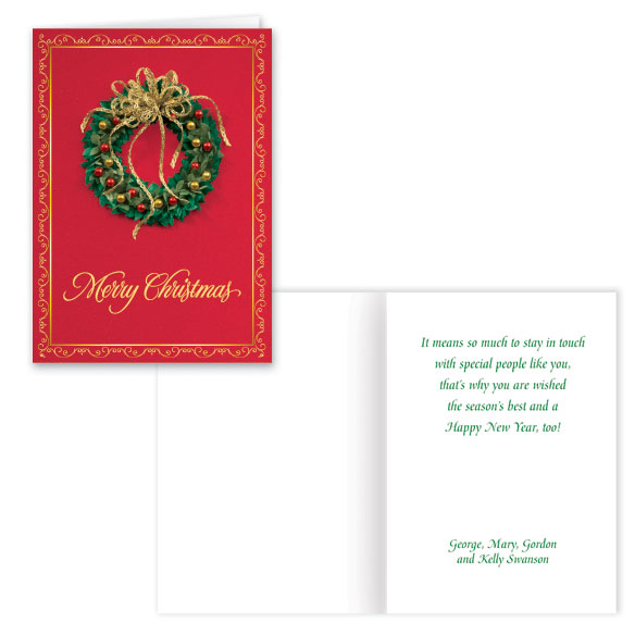 Personalized Satin Wreath Christmas Card Set of 20