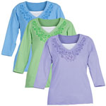 Health, Beauty & Apparel - Pastel 3/4 Sleeve Floral V-Neck Shirt