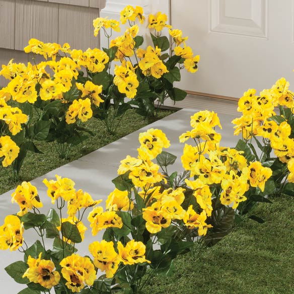 Artificial Yellow Pansies - View 1