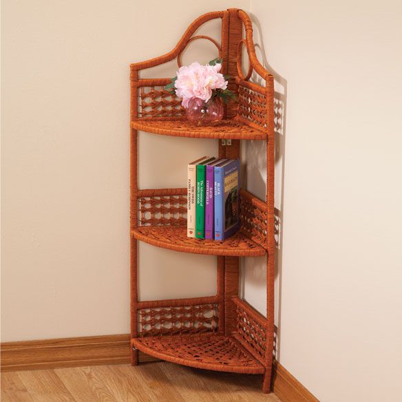 3-Tier Corner Wicker Shelf