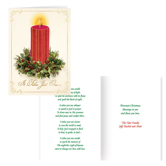 Satin Candle Christmas Card Set of 20 - View 1