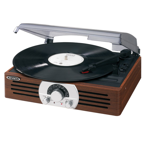 Jensen® 3 Speed 222 Wooden Stereo Turntable with Radio