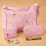 New - Microfiber 3-Piece Handbag Set