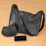 Health, Beauty & Apparel - Braided Patch Leather Bag with Cosmetic Case