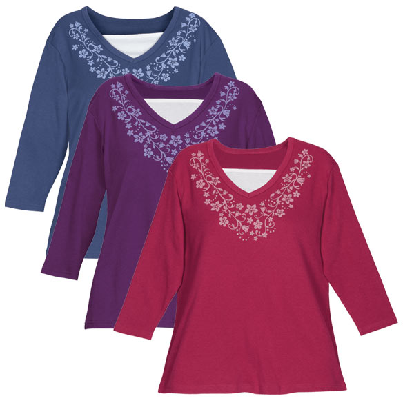 Winter 3/4 Sleeve Floral V-Neck Shirt - View 1