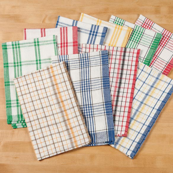 Plaid Kitchen Towels - Set of 10