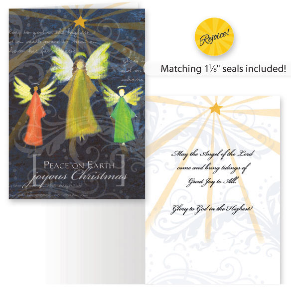 Joyous Angel Trio Non Personalized Christmas Card, Set of 20 - View 1