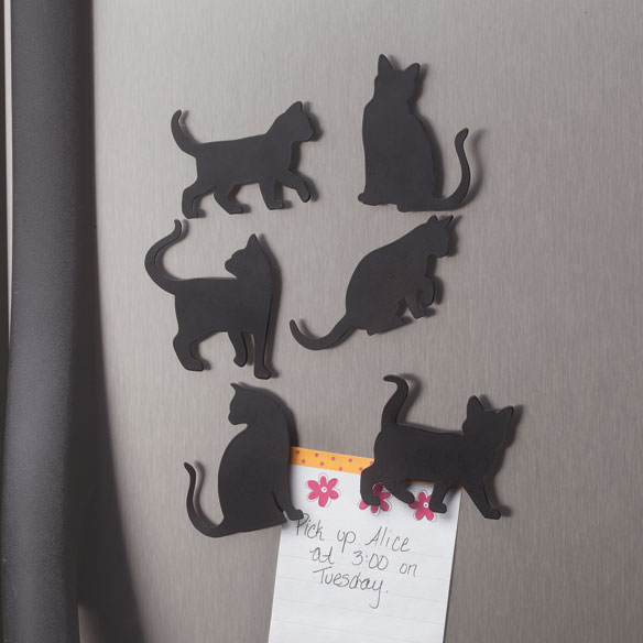 Cat Silhouette Fridge Magnets - Set of 6