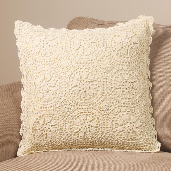 Vintage Medallion Crocheted Pillow Cover