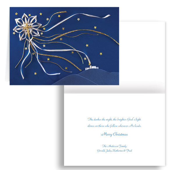 Satin Star of Bethlehem Personalized Christmas Card - Set of 20