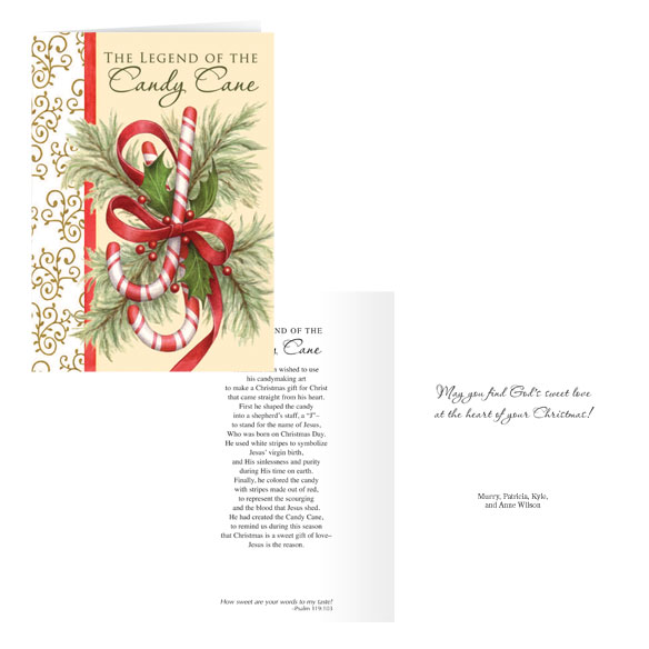 The Legend of the Candy Cane Personalized Christmas Card - Set of 20 - View 1