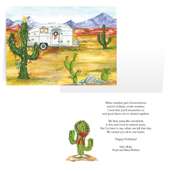 Desert Snowbirds Happy Holidays Personalized Christmas Card - Set of 20