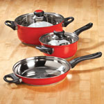 Thanksgiving Cooking Helpers - 5 pc Red Stainless Cookware Set by Home-Style Kitchen™