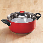 Home-Style Kitchen - 2.5 Quart Red Stainless Steel Sauce Pan with Lid by Home-Style Kitchen™