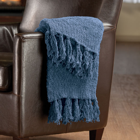 "The Cozy Chenille Throw by OakRidge Comforts, 70"" x 50"", Wedgewood"