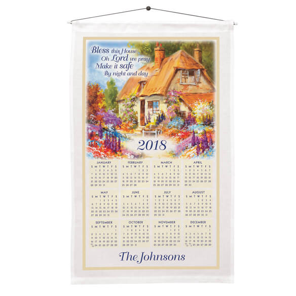 """Bless This House"" Personalized Calendar Towel"