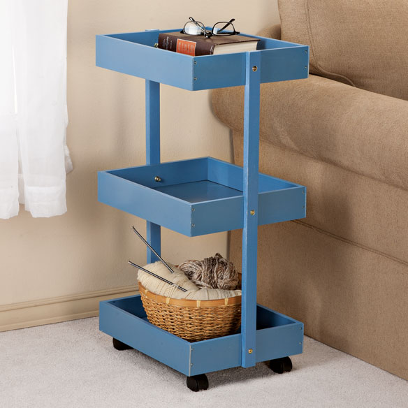 Blue 3-Tier Wooden Rolling Cart by OakRidge Accents™