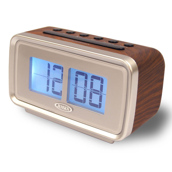 Jensen® AM/FM Dual Alarm Clock Digital Retro Flip Display