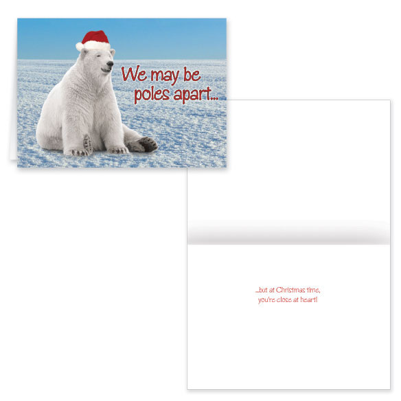 Купить со скидкой Polar Bear Greetings Christmas Card set of 2 Non Personalized